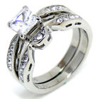 Princess CZ Womens Tarnish Free Stainless Steel Wedding Ring SIZE 5,6,7,8,9,10