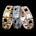 Alias Kim Square 18K Plated Crystal Women Quartz Bracelet Quartz Wrist Watch