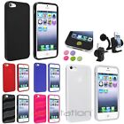 Colorful Slim Patterned TPU Rubber Case+Car Holder Mount+Sticks For iPhone 5 5S