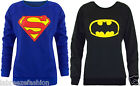 Womens Ladies Superman Jumper Sweatshirt Superwoman Batman Sweater Casual 6-12