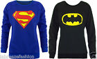 LADIES WOMENS GIRLS BLACK BATMAN BAT WOMEN SWEATSHIRT TOP FLEECE