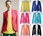 New Sexy Womens Candy 6 Colors Basic Slim Foldable Suit Jacket Blazer Coat