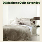 3 Pce - OLIVIA Stone Jacquard Quilt Cover Set by Gainsborough - QUEEN KING
