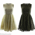 Womens Gold Foil Embroidery Skater Dress Ladies Evening Floral Print Skirt Top
