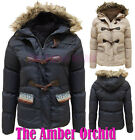 LADIES WOMENS QUILTED PADDED FUR HOODED DUFFLE JACKET FAIR ISLE COAT SIZES 8-14