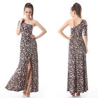 Womens Hot One Sleeve Animal Print Long Maxi Evening Party Dress 09863 Size 8-18