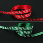"Red Or Green Christmas Xmas Printed Stockings Satin Ribbon, 10mm 3/8"", 5 Metres"
