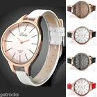 Dalas Concise Gold Tone Camber Case PU Leather Wristband Quartz Watch Girls Gift