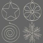 2 Thick Steel Wire Ornament Beadable Frames U pick Star Flower Snowflake Spiral