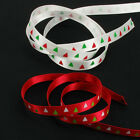 "Red Or White Xmas Satin Christmas Tree Single Sided Ribbon, 10mm, 3/8"", 5 Metres"