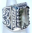 Emerald cut Green Amethyst Solid Sterling SILVER Rings 925 Mens Ring; K to Z+5