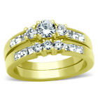 1.35 Ct Gold Ion Plated Stainless Steel WOMENS ENGAGEMENT RING SET SIZE 5-10