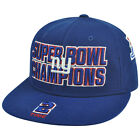 NFL Reebok New York Giants 2 Time Champions Fitted Flat Bill Blue Hat Cap
