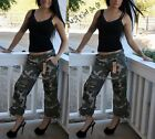 NWT CAMOUFLAGE CAMO PRINT USA US ARMY CAPRI JEANS CARGO PANTS PATCHES S M L