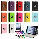 For iPad Mini 1/2 360 Degree Rotating PU Folio Leather Case Cover w Swivel Stand