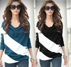 NEW LONG 4 COLORS LADY'S BATWING CASUAL SLEEVE T-SHIRT TOPS STRIPE BLOUSE M L XL