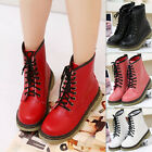 Women Girl Lace Up Half Martin Combat Short Flats Shoes Goth Punk Ankle Boots