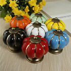 Fashion Kitchen Pumpkins Knobs Handle Pull Drawer Ceramic Door Cabinets Cupboard