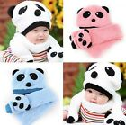 Toddler Infant Baby Kid Boy Girl Warm Winter Panda Head Cap Beanie Scarf Hot