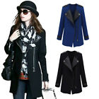 Chic Faux Leather Lapel Full Zipper Wool Coat Jacket Trench Windbreaker Overcoat