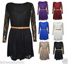 New Womens Retro Lace Sleeveless Pleated Skirted Party Dress 16 18 20 22 24 26