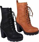 Ladies Womens Grip Sole Block Heel Riding Biker Lace Up Winter Boots Shoes Size