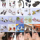 1Pair Vintage Lovely Crystal Butterfly Owl Animal Lady Girl's Earring Hook Gift
