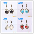 G-Beads Fashion oval beads Marcasite silver dangle stud hoop earring 1 pair