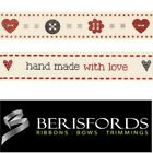Berisfords Ribbons Hand Made With Love, Buttons Vintage Style, 15mm, 2 Metres