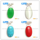 New colorful 18x23mm ovaL beads silver pendant  FREE gift box +necklace chain