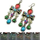 [Tibet9shop] Free Shipping Butterfly Flower Bronze Tibetan Fashional Earrings