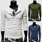 Men's Casual Shirts & Tops Trendy Slim-Fit Solid Color Design T-Shirts