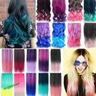 "18""24"" Rainbow Fading Color Hair Extensions Curl Straight Synthet Clip 18 Colors"