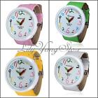 4Color Cute Girl Big Dial Pencil Pointer Student Quartz Leather Wrist Watch Gift