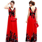 Double V-neck Strapless Summer Chiffon Sexy Floral Printed Evening Dress  09641