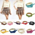 Korean PU Faux Leather Bow Tie Thin Belt Candy Color Lady Girdle Waistband New