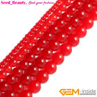"Round Red Jade Stone Loose Beads For Jewelry Making 15"" Jewelry Beads in Bulk"