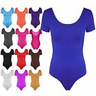 New Womens Ladies Casual Short Sleeves Stretchy Plain Bodysuit Leotard Top Size