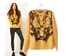 Fashion Tiger Print  Round Neck Women Girl Lady Pullover Sweater T-shirt Top S M