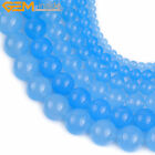 "Round Blue Jade Gemstone Jewelry Making Bead Strand 15"" 4/6/8/10/12/14/16mm Pick"