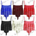 Womens Ladies Full Lace Mesh Dip Handkerchief Strappy Hanky Hem Crop Vest Top