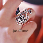 Alloy Retro Antique Stylish Hollow Rose Finger Rings Womens Lady Flower Ring NEW