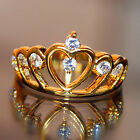 8c8 Sparkly Noble Jewelry 18k Yellow Gold Plated Rhinestone Crown Lady Ring
