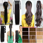 Clip In Pony Tail Hair Extensions Wrap Around Ponytail Jaw/Claw Straight Wave
