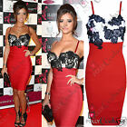 Womens Red Lace Bodycon Bandage Cocktail Party Evening Formal Ladies Midi Dress