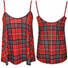 WOMENS LADIES TARTAN CHECK SLEEVELESS VEST SWING CAMISOLE TOP STRAPPY T-SHIRT