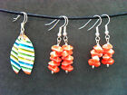 Handmade Candy Stripe or Orange Drop Dangle Earrings