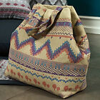BRUSHED COTTON CANVAS FABRIC ANTIQUE MAYA INCA PATTERN UPHOLSTERY CRAFT TOTE 44""