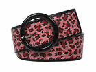 "2 1/4"" Wide Ladies Patent Leather Leopard Print Fashion Belt"