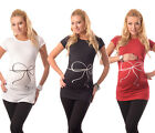 Bow print - Adorable Slogan Cotton Printed Maternity Pregnancy Top T-shirt 2007